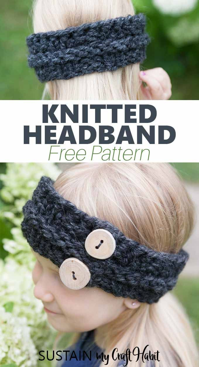 So adorable! Quick Child's Knitted Headband Pattern #knitheadbandpattern Knit he…