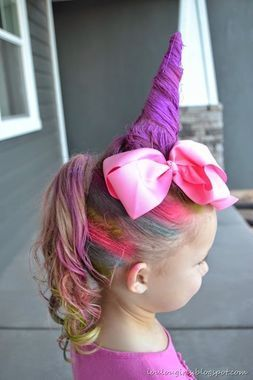 So cool! How to make a unique unicorn look for Wacky Hair Day … or any other d…