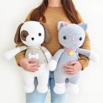 TWO CROCHET PATTERNS in English and Spanish - Thomas the Dog and Frida the Cat - 21.5 in./55 cm. tall - Amigurumi - Instant Pdf Download