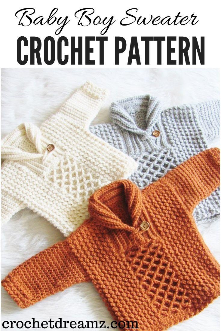 Textured Crochet Baby Boy Sweater – Crochet Dreamz