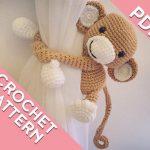 Tiger curtain tie back crochet PATTERN, tieback, left or right side crochet pattern PDF instant download amigurumi PATTERN