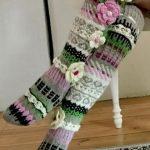 Über die Kniestrümpfe, Oberschenkel hohe Socken, stricken Hand, Kniestrümpfe, Kniestrümpfe Blume, Blume Socken, Regenbogen Socken, Frau Beinlinge, Hand stricken Socken