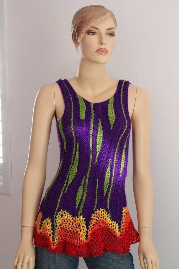 Unique Luxury Rainbow Hand Knit Crochet Sweater Top Tunic Blouse Wearable Art – Pixie Fairy Hippie- Festival