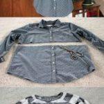 Upcycling-Kleider graues Hemd und gestreifte Bluse  Stricken und Häkeln