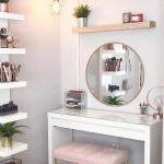 Vanity Makeup Table With Round Mirror #roundmirror We have created a photo galle
