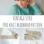 Vintage Strick Krawatte Stirnband Muster