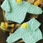Vintage Strickmuster Baby Korbgeflecht strukturierte Strickjacke Pullover  #