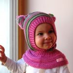 Waldorf inspired winter and snow hat. Hand knitted hoodie / balaclava hat for ba...