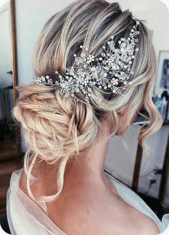 Wedding hair accessories Crystal Bridal hair piece Bridal hair vine Rose gold wedding headpiece Bridal hair pieces Weddong Crown Gold Tiara