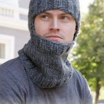 Winter Knights - Knitted hat / hoodie hat for men in DROPS Eskimo with rib and n...