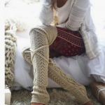 Winter lange warme Beinlinge stricken Kniestrümpfe Frauen