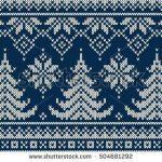 Winter vacation Seamless knitting pattern with Christmas trees. Christmas Knitt ...