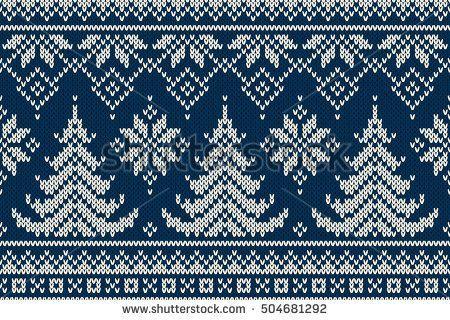 Winter vacation Seamless knitting pattern with Christmas trees. Christmas Knitt …