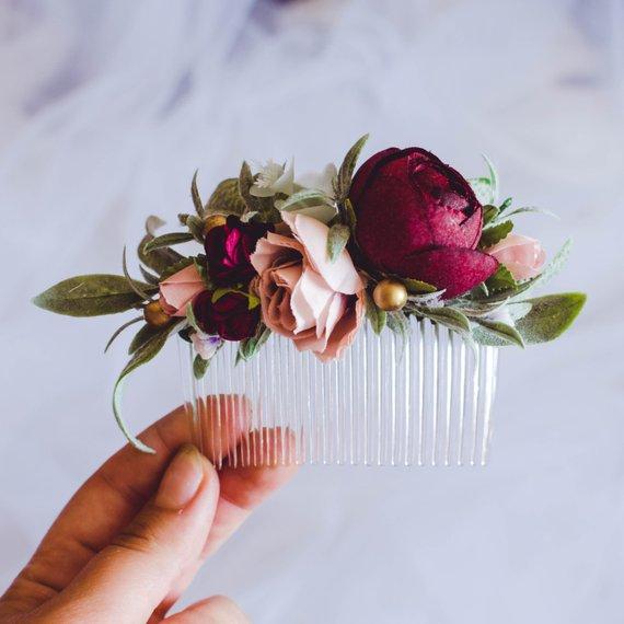 Winter wedding hair accessories, Christmas burgundy blush flower comb, Flower hair comb, Greenery hair comb, Flower comb, Flower headpiece