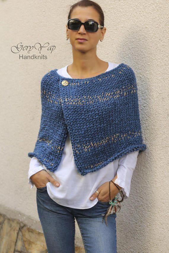 Wolle Poncho Cape Muster – Winter Poncho Muster für Frauen – einfach zu stricken Muster – Anf…