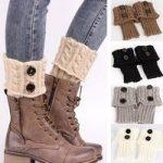 Women's Leg Warmer Knit Boot Socks Dotted Line Button Topper Cuff Socks