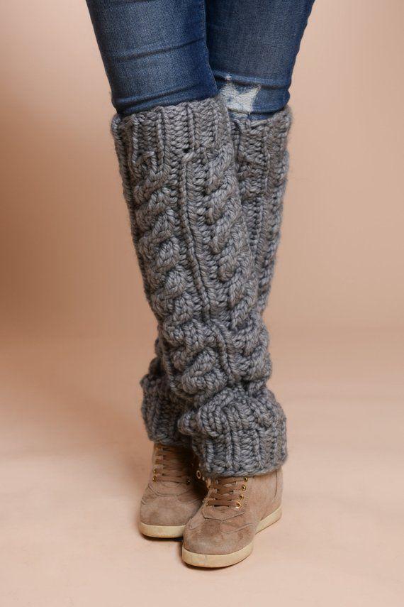 Wool Leg Warmers, Cable knit leg warmers, Hand knit socks, Chunky Leg warmers, Long Knit tights, Dancer leg warmers