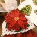 X135 Crochet PATTERN ONLY Christmas Poinsettia Towel Topper Pattern