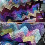 Zickzack gestrickte Decke kostenlose Muster