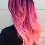 beautiful hairstyles, black blouse, long pink hair, braid, ombre effect, modern ...