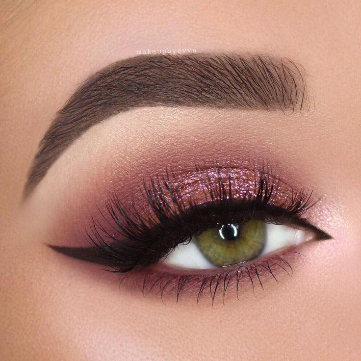 burgund / pink schimmer smokey eye w / arabisch schwarz winged liner @makeupbyevva #e