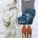casual outfit inspiration || chunky knit cardigan, distressed denim, black and w...