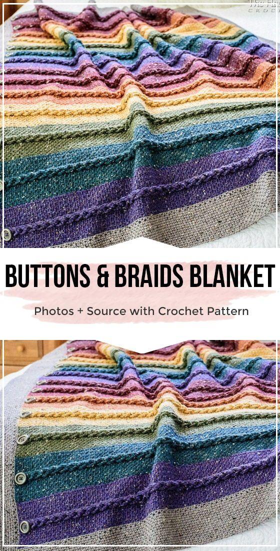 crochet Buttons Braids Blanket pattern