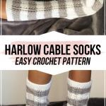 crochet Harlow Cable Socks pattern - easy crochet socks pattern for beginners