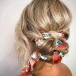 cute hairstyles || easy hair styles for long hair; braided bun with hair scarf; ...