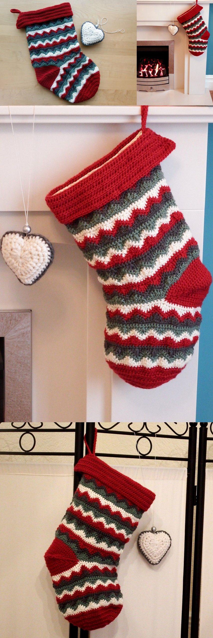 Home made zigzag Christmas Stocking – free crochet pattern!