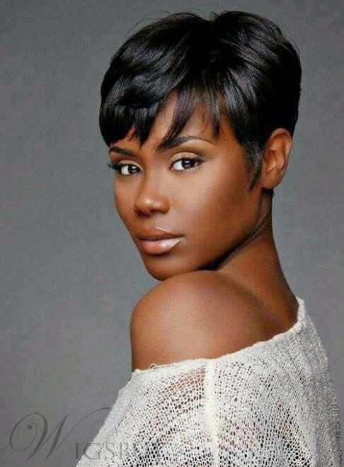 African American Pixie Short Straight Human Hair Capless Wigs