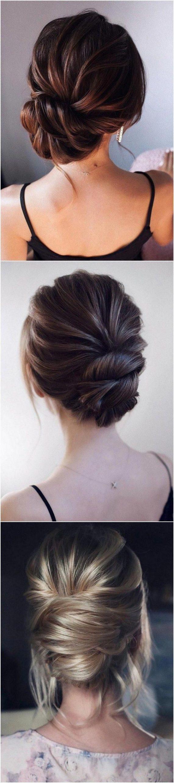 elegantes peinados de boda updo de bollo bajo 3 #weddinghairstyles ,  #peinadosd…