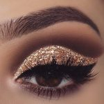 gold glitter eyeshadow, make up tutorial, make up for brown eyes, make up for ha...