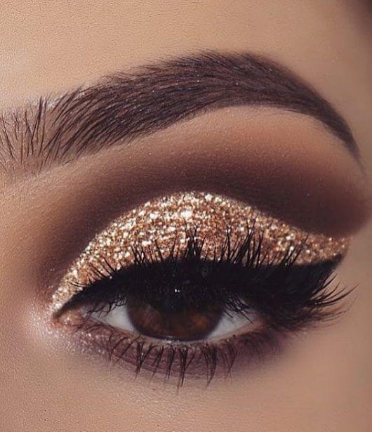 gold glitter eyeshadow, make up tutorial, make up for brown eyes, make up for ha…