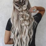 half up half down wedding hairstyles ideas on long silver hair with braids taylo...