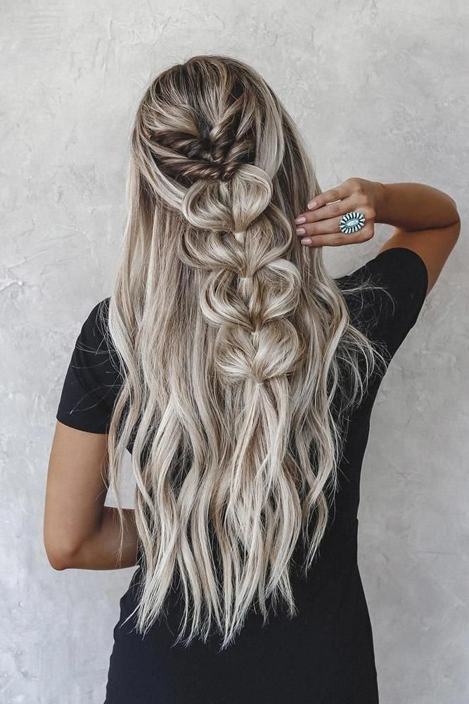 half up half down wedding hairstyles ideas on long silver hair with braids taylo…