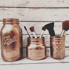 maquillage organisateur maquillage porte-brosse Rose Gold Mason Jars