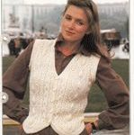 modern ladies aran waistcoat knitting pattern from 1990s in double knitting with...