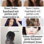 noni | Boho Haarband mit Perlen und Swarowskis in Silber - #Boho #Haarband #mit ...