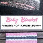 pink gray striped baby blanket crochet pattern - girl or boy baby gift #crochet ...