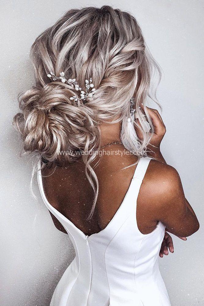 romantic bridal updos wedding hairstyles volume textured low buns