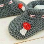 schnell und einfach Babyschuhe stricken - Grobstrick DIY - Babyschuhe mit vielen Bildern gut erklärt - No.26