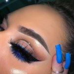 simple eye makeup with pop of blue liner and glitter cut crease #eyemakeuptutori...