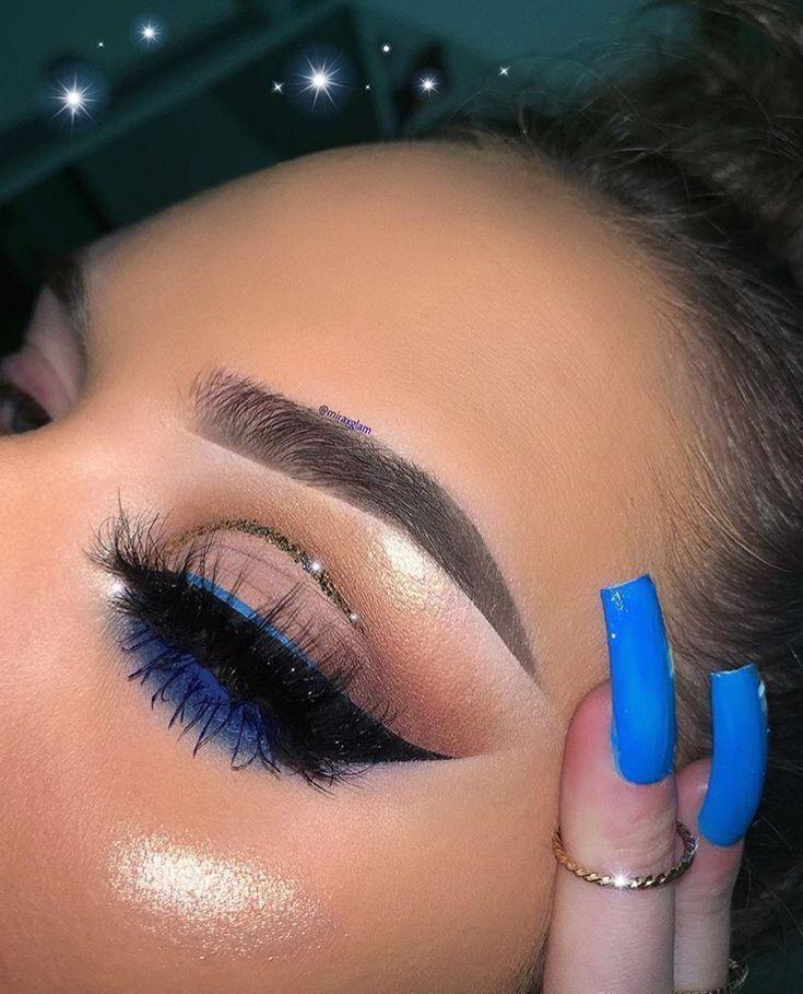 simple eye makeup with pop of blue liner and glitter cut crease #eyemakeuptutori…