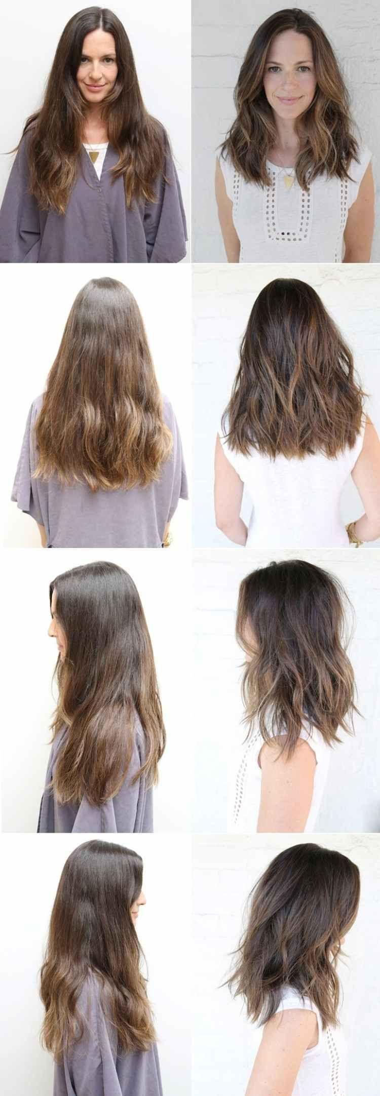 stark gestufte lange Haare – glatt A Linie