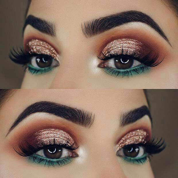 teal blue green under eye makeup lower lid orange red halo sparkly glitter eyesh…