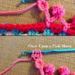 tiny crochet pompoms on a chain edge - full instructions - clever and so cute! -...