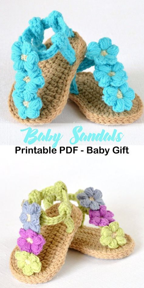 triple flowers baby sandal – baby shoes crochet pattern – baby gift #crochet #cr… – Life with Alyda
