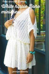 white hippie boho mini dress free crochet pattern beginner friendly, quick and e…