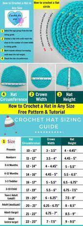 wie man einen Hut in einer beliebigen Größe häkelt – kostenloses Muster und Tutorial